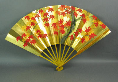 Ornamental fan, painted floral design