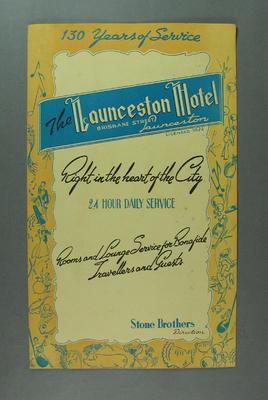 Menu, The Launceston Hotel