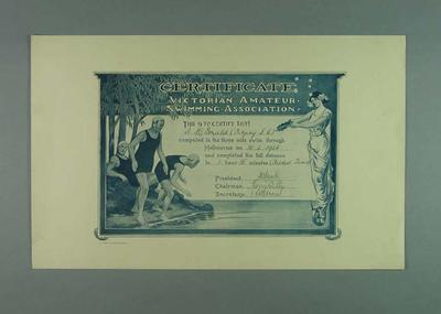 Framed Certificate, Victorian Amateur Swimming Association, 10 February 1923 Fastest Time - 3 mile Swim  through Melbourne - Awarded to N. McDonald