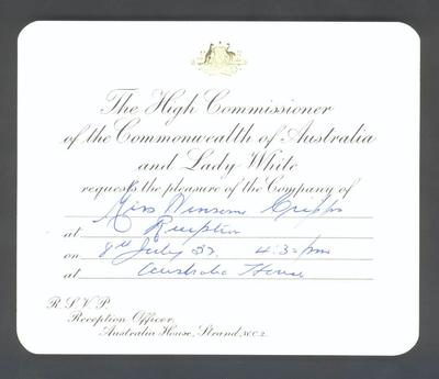 Invitation from Australian High Commissioner in London to Winsome Cripps, 8 July 1952
