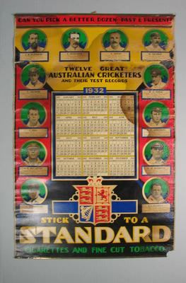 1932 Calendar 'Twelve Great Australian Cricketers and their Test Records' issued by Standard Cigarettes; Documents and books; M7383