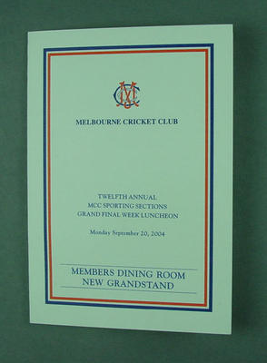 Menu, Melbourne Cricket Club Sporting Sections Grand Final Week luncheon - 2004