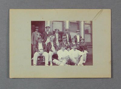 Photograph album page, images of cricketers