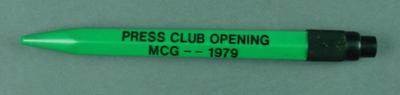 "Retractable pen, ""Press Club Opening - MCG 1979"""