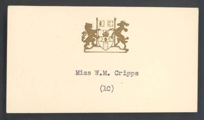 Place card with Northern Ireland coat-of-arms, Miss W C Cripps