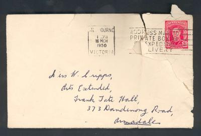 Envelope addressed to Miss W Cripps, date stamped 16 March 1950