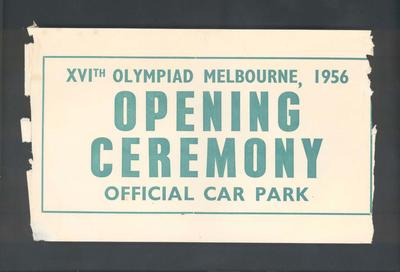 Car park ticket, 1956 Melbourne Olympic Games Opening Ceremony