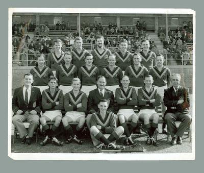 Black and white photograph, South Australian Lacrosse Team, Melbourne 1959