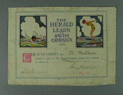 Certificate, Herald Learn to Swim Campaign 1934