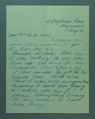 Letter from Val Cole to Shirley Strickland, 1 August 1960