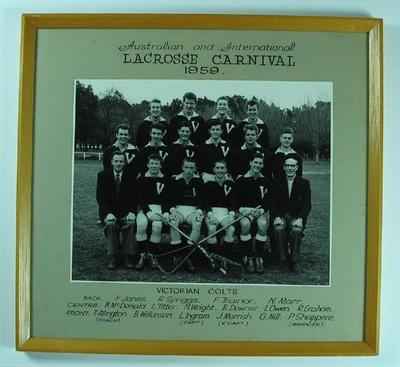 Photograph, Australian and International Lacrosse Carnival 1959 - Victorian Colts.