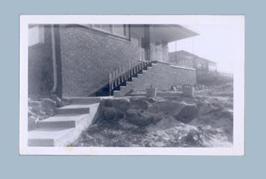 Photograph of garden renovations in progress, c1960