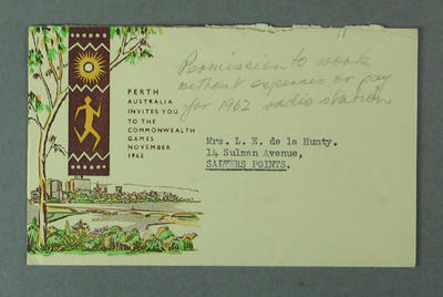 Envelope addressed to Shirley Strickland, Dec 1961