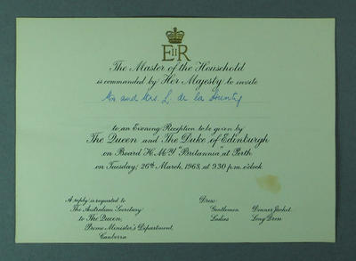 Invitation to reception with Queen Elizabeth II & Prince Philip, Perth 26 Mar 1963