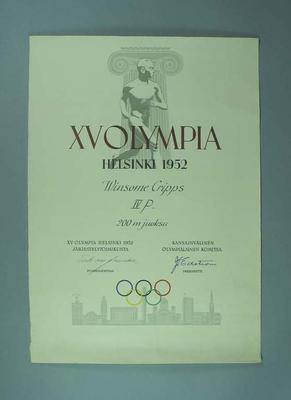 Certificate awarded to Winsome Cripps, 1952 Helsinki Olympic Games - women's 200m final, fourth place; Documents and books; 1998.3394.97.1
