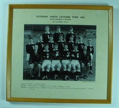 Photograph of Victorian Junior Lacrosse Team, 1962