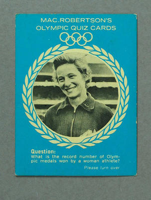 Trade card, Mac.Robertson's Olympic Quiz Cards featuring Shirley Strickland