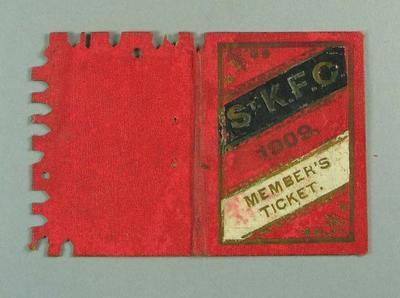 Membership ticket, St Kilda FC 1909; Documents and books; 1988.1904.9.2