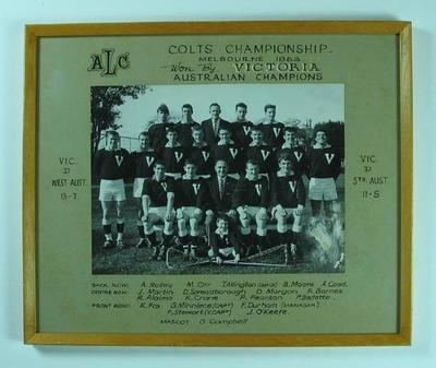 Photograph of Victorian Colts Lacrosse Team, 1963 Australian Champions