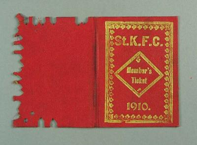 Membership ticket, St Kilda FC 1910; Documents and books; 1988.1904.9.3