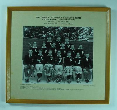 Photograph of Senior Victorian Lacrosse Team, 1964