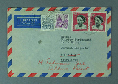 Envelope addressed to Shirley Strickland, 15 January 1962