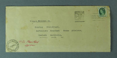 Envelope addressed to Shirley Strickland, 14 October 1963