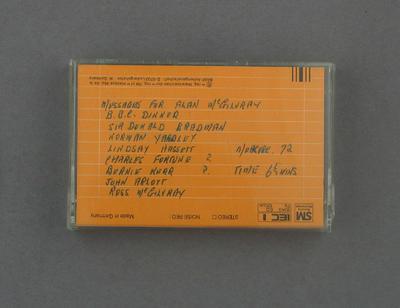 Jacket for audio cassette, Alan McGilvray BBC Farewell Dinner; Audio-Visual; M12359.2