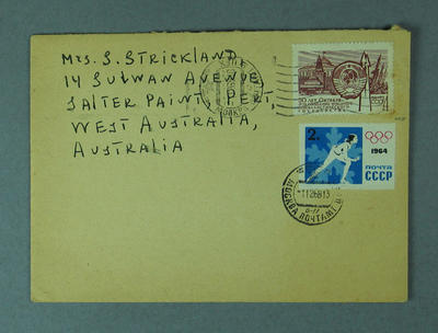 Envelope addressed to Shirley Strickland, 1968