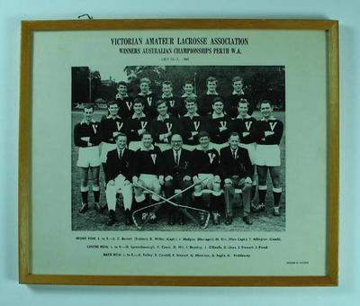 Framed black and white photograph, Victorian Amateur Lacrosse Association, Winners Australian Championships Perth, W.A. 10-17 July 1965