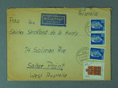 Envelope addressed to Shirley Strickland, 4 February 1969