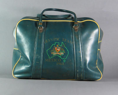 Australian team travel bag, used by Shirley Strickland at 1968 Olympic Games