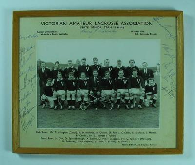 Framed black and white autographed photograph, Victorian State Senior Lacrosse Team, winners 1966 Bob. Symonds Trophy