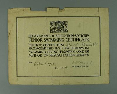 Certificate, Department of Education Victoria Junior Swimming 1934
