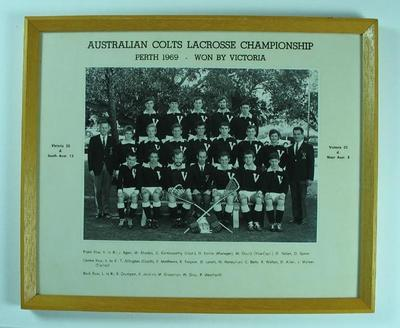 Framed black and white photograph, Victorian team, Australian Colts Lacrosse Championship, Perth 1969