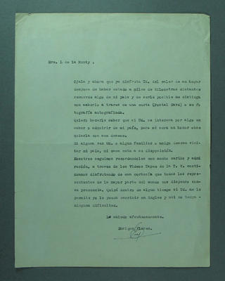 Letter from Enrique Flores to Shirley Strickland, 1968