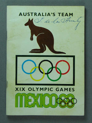 "Booklet, ""Australia's Team XIX Olympic Games"""