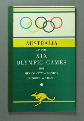 """Booklet, """"Australia at the XIX Olympic Games 1968"""""""