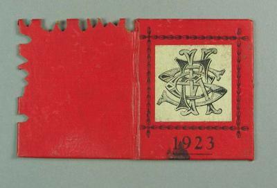 Membership ticket, St Kilda FC 1923; Documents and books; 1988.1904.9.15