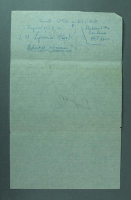 Piece of paper with handwritten notes, undated
