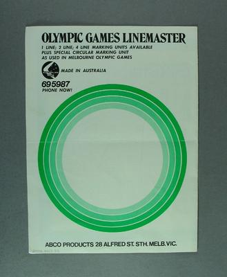 Brochure -  'Olympic Games LineMaster Line Marking Machine', ABCO Products P/L