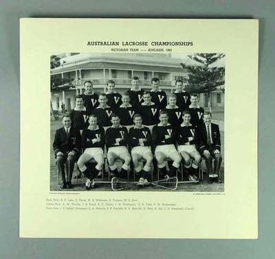 Photograph of Victorian lacrosse team, 1962