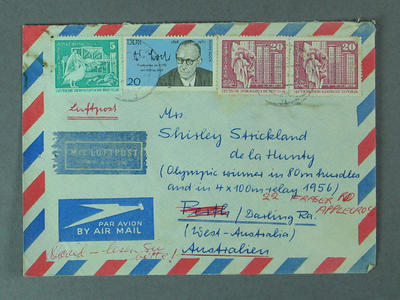 Envelope addressed to Shirley Strickland, c1970s