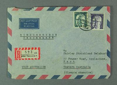 Envelope addressed to Shirley Strickland, 20 Dec 1973