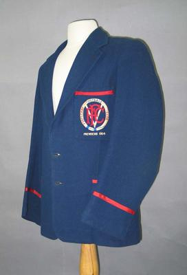 Blazer - Footscray Football Club Premiers 1954 worn by E.J (Ted) Whitten Snr.; Clothing or accessories; 1992.2661.1