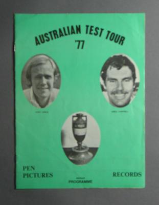 """Programme, """"Australian Test Tour '77"""""""
