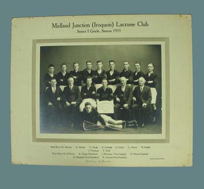 Photograph of Midland Junction (Iroquois) Lacrosse Club, Senior 1 Grade 1935
