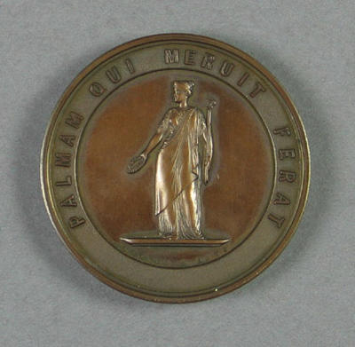 Medal won by RC Esler for first place, Schools Amateur Athletic Association under 12 fifty yards race - 1917