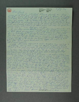 Letter from Shirley Strickland to her family in Perth, 14-17 July 1976