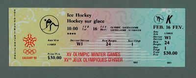 Ticket - Ice Hockey, 16 February 1988, Calgary Winter Olympic Games